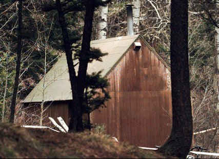 Theodore Kaczynski's cabin in the woods near Lincoln, Mont., in 1996.